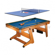BCE 6ft Rolling Folding Pool Table with Table Tennis Desktop
