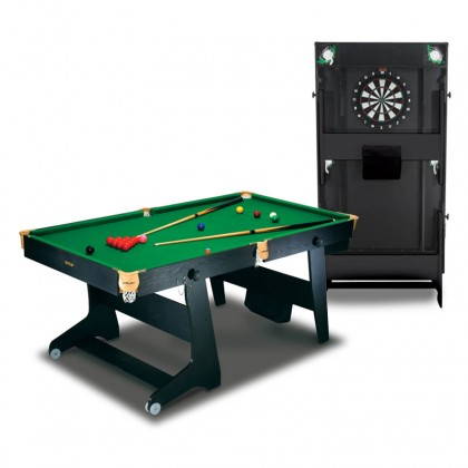 BCE 6ft Rolling Folding Snooker Table with Dartboard